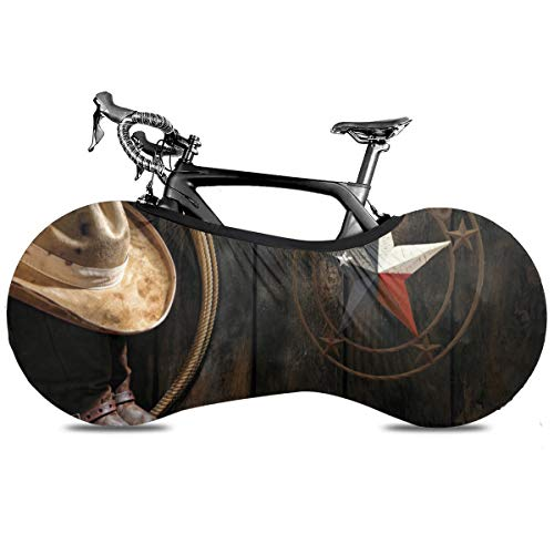 Rústico Lodge Oso Alce Ciervo Portátil Cubierta de Bicicleta Cubierta de Interior Anti Polvo Alta Elástica Cubierta de la Rueda de la Bicicleta Protector Rip Stop Neumático Carretera Mtb Bolsa de Almacenamiento, Estrella de Texas Occidental, talla única