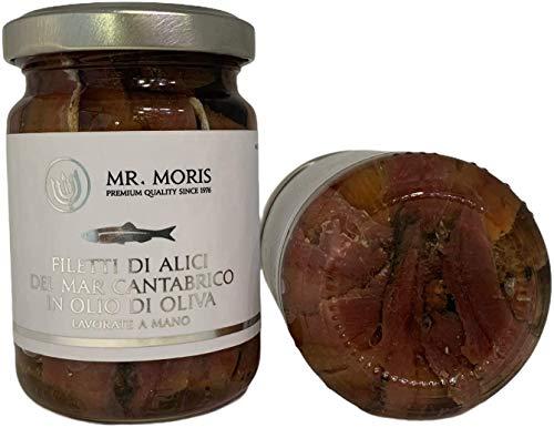Mr. Moris Sardellenfilets aus dem Kantabrischen Meer in Olivenol Kosher Anchois Handmade (160Gr)