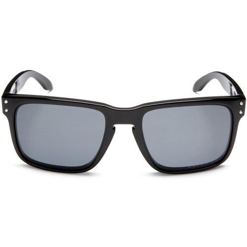 Oakley Men's OO9102 Holbrook Square Sunglasses, Polished Black/Grey Polarized, 55 mm