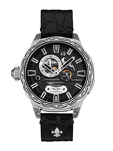 HÆMMER Dark Moon Skeleton Automatikuhr Damen aus Edelstahl | Exklusiv Limitierte Damenuhr mit Kalbsleder Armband | Luxus-Uhr mit Inkgraved veredeltem Gehäuse