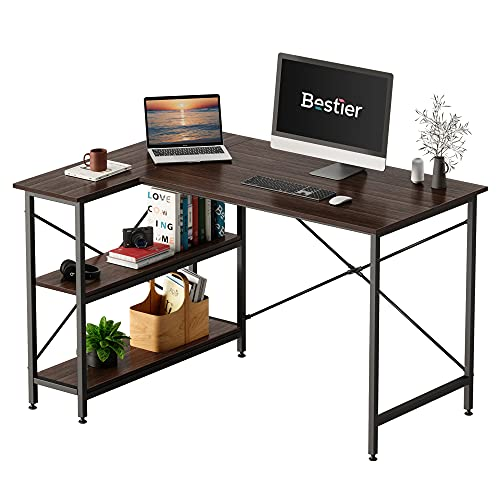 Bestier Small L Shaped Desk with Storage Shelves 47 Inch Corner Computer Desk Table for Home Office Small Space, Brown