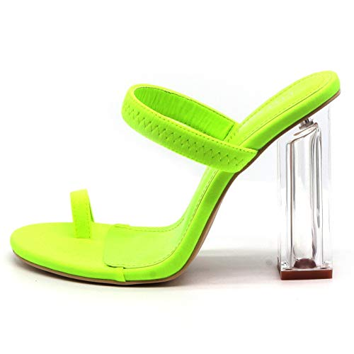Cape Robbin Macaroon Clear Chunky Block High Heels for Women, Transparent Strappy Open Toe Shoes Heels for Women - Lime Size 8