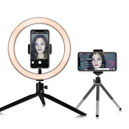 Anillo de Luz LED con 2 Trípode Soporte, DC5V 7W Ring Light Regulable para Fotografía Aro de Luz para Teléfono para Maquillaje, Selfie, Youtube, Transmisión en Vivo Grabación de vídeo Vlog