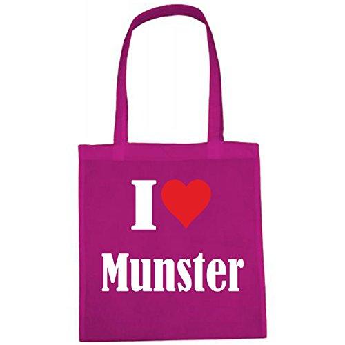 Tasche I Love Munster Größe 38x42 Farbe Pink Druck Weiss