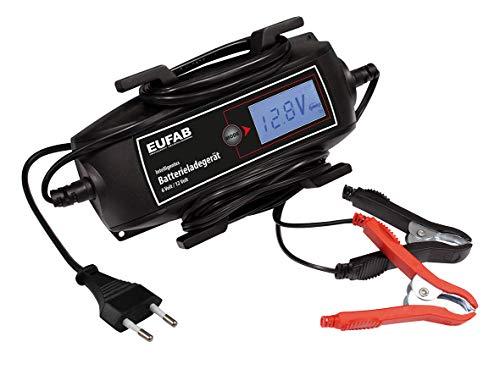 EUFAB 16616 Intelligentes Batterieladegerät, 6/12 V, 4 A, mit Kabelaufroller