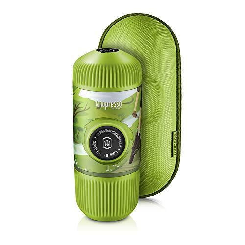 WACACO Nanopresso Tragbare Espressomaschine mit Schutzhülle, Upgrade-Version von Minipresso, 18 Bar Druck, Tragbare Mobile Reisekaffeemaschine, Manuell Betrieben (Nanopresso Journey Spring Run)