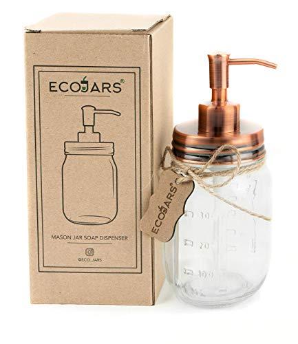 EcoJars - Dispensador de jabón de Cobre para jabón, Cristal, Vidrio, Acero Inoxidable, 500 ML, Caja de Regalo
