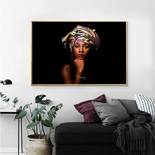 Carteles e impresiones nórdicos de moda africana moderna para mujer, pintura en lienzo, decoración del hogar, imagen artística de pared escandinava para sala de estar 40x50cm