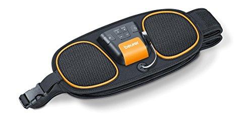 Beurer EM 39 Electroestimulador EMS Cinturón 2 en 1 abdominal + lumbar, 5 programas entrenamiento, 4 electrodos agua sin gel (2 lumbar+ 2 abdominal), pantalla LCD, 75-130cm cintura