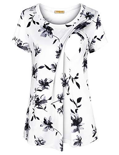BAIKEA Maternity Shirts Short Sleeve,Scoop Neck Floral Top Nursing Fashion Tops Women's Short Sleeve Layered Nursing Tops Maternity Breastfeeding Tunic Floral White S