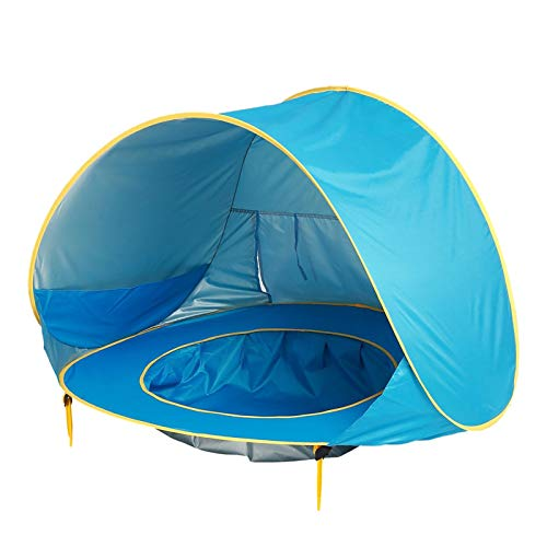 Clacce Strandmuschel, Extra Light Automatisches Strandzelt mit Reißverschlusstür und UV-Schutz, Familien Portable Beach Zelt in Blau, Outdoor Tragbar Wurfzelt