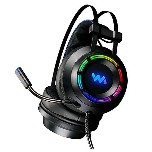 Huiingwen - Auriculares para videojuegos con micrófono 7.1 para PC con reducción de...