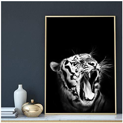 DLFALG Vit tiger ryr affischer och tryck nordisk konst djur canvas målning svarta vita väggbilder för vardagsrum heminredning – 50 x 70 cm ingen ram