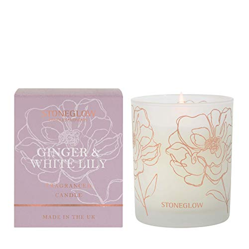 Stoneglow Day Flower Ginger & White Lily Boxed Candle In Glass Tumbler