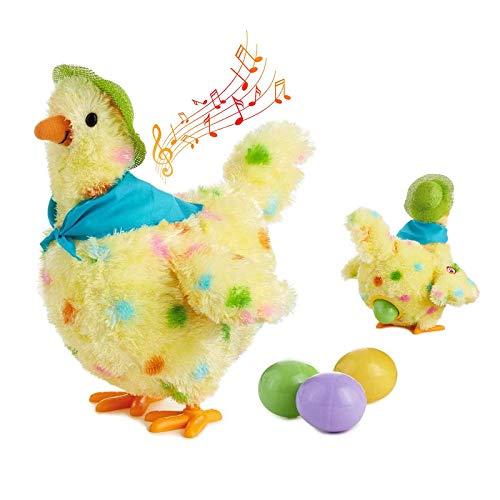 Victorian Henne, die Eierspielzeug legt, musikalisches tanzendes Plüschtierspielzeug mit Bewegung, interaktives Kuscheltierspielzeug, Huhn, das Eier legt Geburtstagsgeschenk Ostergeschenk für Kinder