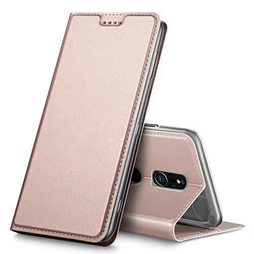 Verco Handyhülle für Xperia XZ2, Premium Handy Flip Cover für Sony Xperia XZ2 Hülle [integr. Magnet] Book Hülle PU Leder Tasche, Rosegold