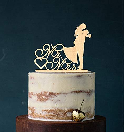 Cake Topper, Kuss, Tortenstecker, Tortefigur Acryl, Tortenständer Etagere Hochzeit Hochzeitstorte Kuchenaufstecker (Holz) Art.Nr. 5240