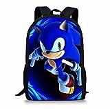 Sonic Backpack School Mochilas Set para niños Dibujos animados Sonic Print School Bags para estudiantes niñas niños mochila
