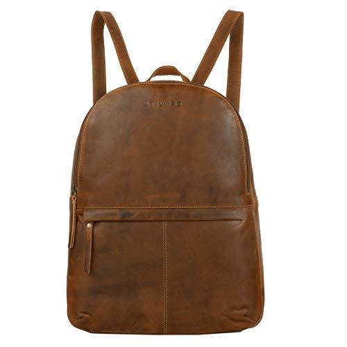 STILORD \'Conner\' Leder-Rucksack groß Vintage Daypack Backpack Unirucksack Rucksackhandtasche Business 13,3 Zoll Laptop A4 echtes Rindsleder, Farbe:Mocca - Dunkelbraun