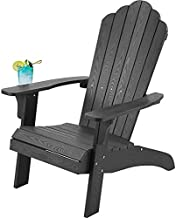 Oversized Adirondack Chair Weather Resistant,Plastic Adirondack Chair with Cup Holder, Comfortable Easy to Assemble & Maintain, Outdoor Chair for Patio, Backyard Deck, Fire Pit & Lawn Porch - Black
