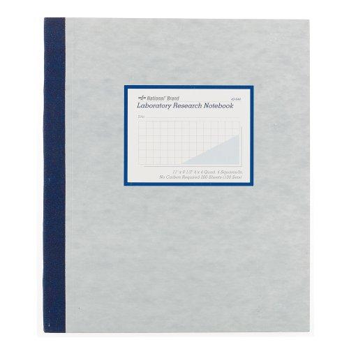 National Laboratory Notebook, 4 x 4 Quad Ruling, Gray Cover, 11u0022 x 9.25u0022 100 Numbered Sets (43644)