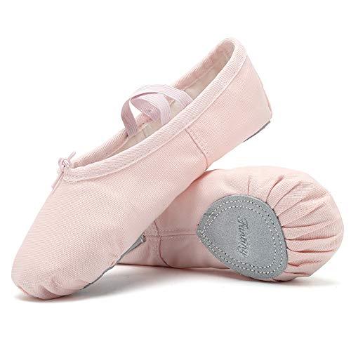 Ballet Slippers for Girls Classic Split-Sole Canvas Dance Gymnastics Yoga Shoes Flats(Toddler/Little Kid/Big Kid/Women) VTW01,2blue,28 Pink