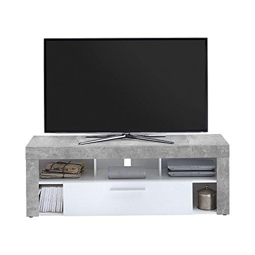 FMD furniture Lowboard, Spanplatte, Beton LA/Weiß, ca. 150 x 52,8 x 40 cm