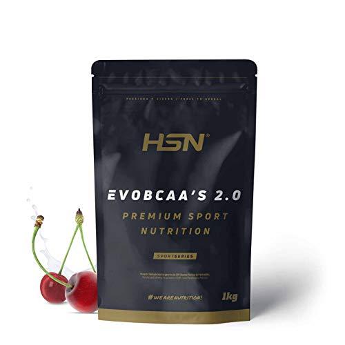 BCAA con Glutamina de HSN Evobcaa's 2.0 | Aminoácidos Ramificados Ratio 12:1:1 (L-Leucina + L-Valina + L-Isoleucina) | Recuperación y Ganar Masa Muscular | Vegano, Sin Lactosa, Sabor Cereza, 1Kg