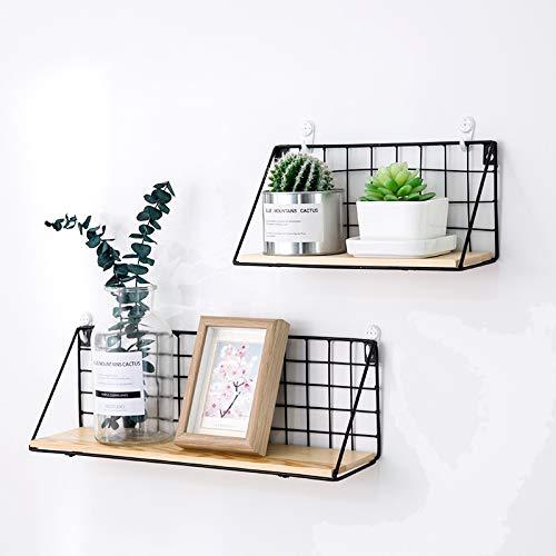 Easy Chic - Estante de pared de metal industrial y madera, color negro y blanco natural, metal, negro, Pack of 2(Small+large)