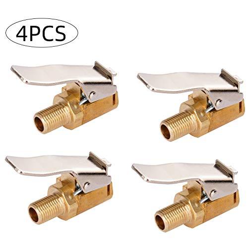 Yizhet 4 Piezas Mandriles de Aire para Neumáticos,Adaptador de Boquilla de Rosca de Bomba para Automóvil,8 mm de Válvula Neumático Bomba de Automóvil Boquilla de Clip de Cabeza de Conversión Rápida