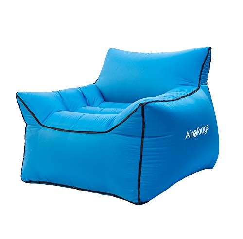 AiroRidge Inflatable Lounger Air Chair - No Pump Needed! Light Weight blowup Chair, Great for Beach, Festivals, Pool, and Sporting Events. Comes with Pockets, Carry Bag, and Ground Stake, Camping Gift
