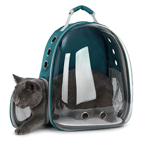 DoubleBlack Portador de Mascotas Mochila Transparente Perros y Gatos Portátiles Bolsa de Transporte al Aire Libre Diseño de Cápsula Transpirable Visitas Guiadas de 180 Grados - Verde