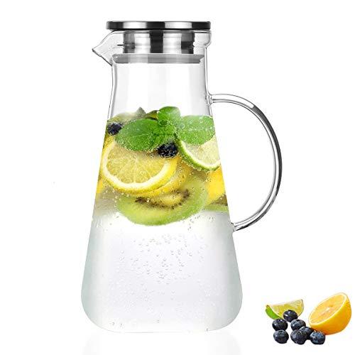 Homewit 2200 ml Wasserkaraffe, Glas Krug aus hitzebeständigem Borosilikatglas, -20°C~130°C, Eistee Krug mit Edelstahldeckel, für Wasser, Obstssaft, Tee, hausgemachte Getränke, Milch, Kaffee, Wein