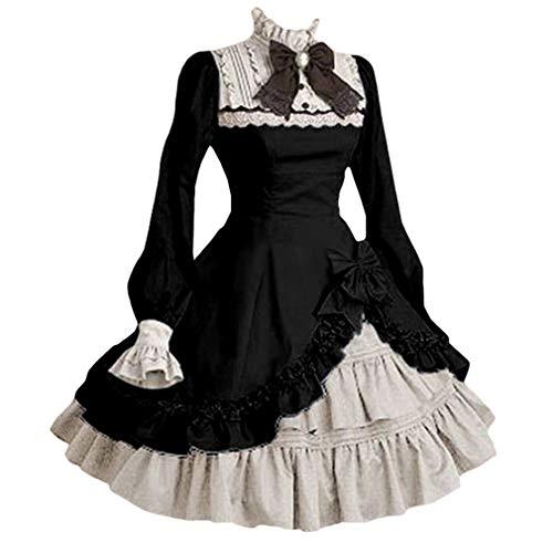 YUANDONGXING Mujeres Anime Lolita Disfraces De Cosplay Cuello Cuadrado Vestido Vintage Vestido De Manga Larga Trompeta Steampunk Vestido