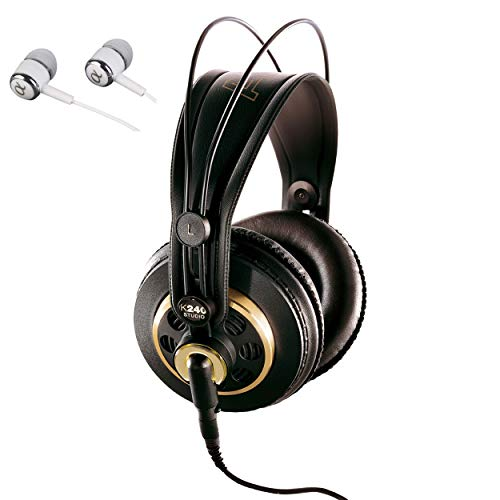 AKG K240 STUDIO Semi-Open Over-Ear Professional Studio Headphones Include a Removable Cable and Varimotion Technology for Enhanced Bass Response / includes Alphasonik Earbuds