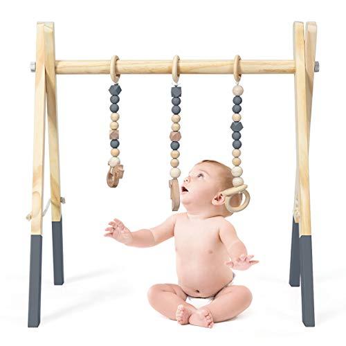 GOPLUS Palestra per Bambini in Legno, Palestrina Pieghevole di Legno con Altezza Regolabile per Bimbi, Trapezio Palestrina con 3 Giocattoli Sensoriali da Afferrare (Grigio)