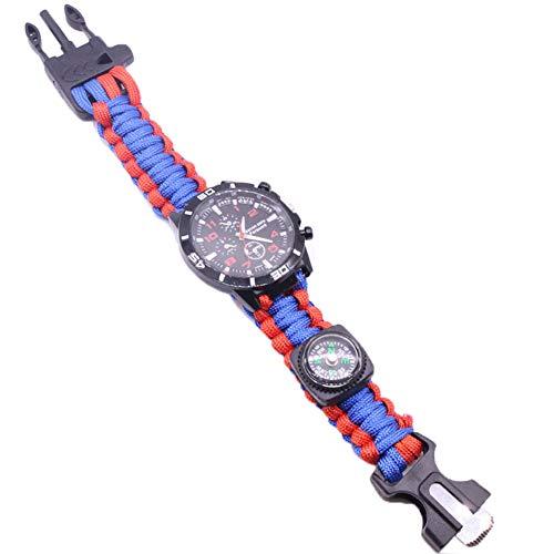ZJJ Reloj de la Pulsera de Supervivencia Impermeable al Aire Libre Reloj de Salvamento Multifuncional con compás Magnesio Rod Braded Rope silbate para Caminar Camping,Azul