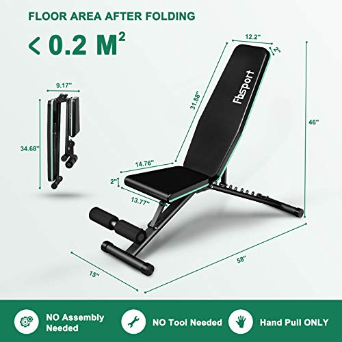 FBSPORT Weight Bench, Adjustable Strength Training Workout Bench , Bench Press for Home Gym Full Body Exercise, Incline Decline Weight Bench Foldable Workout Bench with Bands, Green