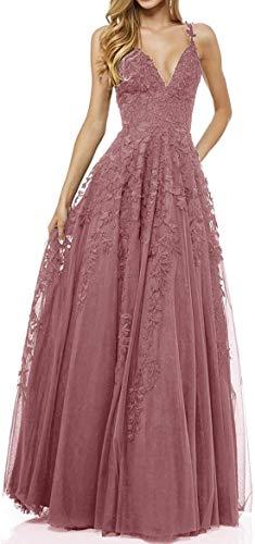 R&Bwedding Damen Abendkleider Ballkleid Sexy V-Ausschnitt Elegant Lang Hochzeit Spitzen Abendkleid (Altrosa,46)