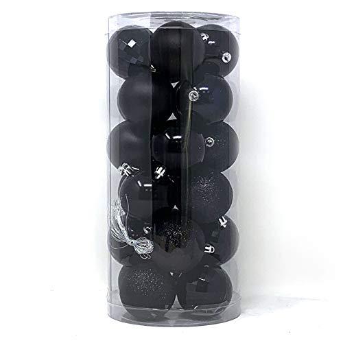 allgala 24 PK 2.33 Inch (6CM) Christmas Ornament Balls for Xmas Tree-4 Style-Black