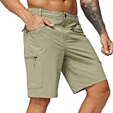MIER Men's Quick Dry Shorts Lightweight Stretch Travel Hiking Shorts with 5 Zipper Pockets, 34, Rock Grey