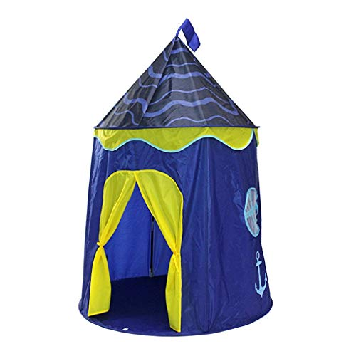 Tents Princess, Children's Play for Boys, Yurt Teepee Indian Castle for Kids Camping - Tale (Color : Blue, Size : 110 * 110 * 150CM)