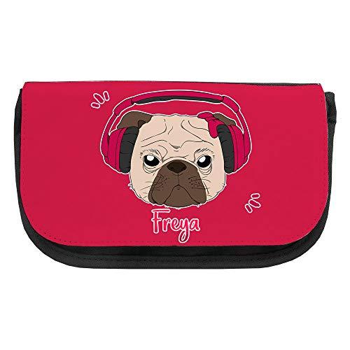 Kosmetiktasche mit Namen Freya und Mops-Motiv mit Kopfhörer und Schleife in Pink | Schminktasche | Viele Vornamen zur Auswahl