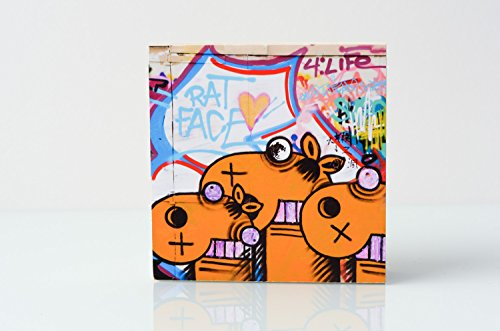 Foto auf Holz, im Quadrat, 9,5 x 9,5 Graffiti mit Kamelen, handmade