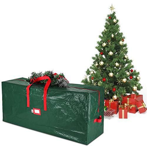 PUTAOYOU Bolso de almacenamiento de árboles de Navidad 5 pies - 9ft Altos Bolsas de árboles desmontados artificiales con asas y cremallera dual, contenedor de árbol de navidad resistente a prueba de a