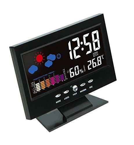 Thermomètre hygromètre, Station météo avec réveil et l'écran large sous forme d'une télévision, Thermomètre intérieur – Noire