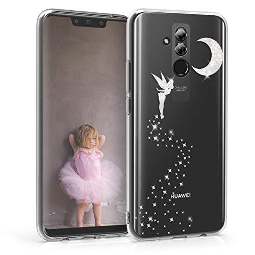 kwmobile Cover Compatibile con Huawei Mate 20 Lite - Back Case Custodia Posteriore in Silicone TPU per Smartphone - Backcover Fata alata Argento/Trasparente
