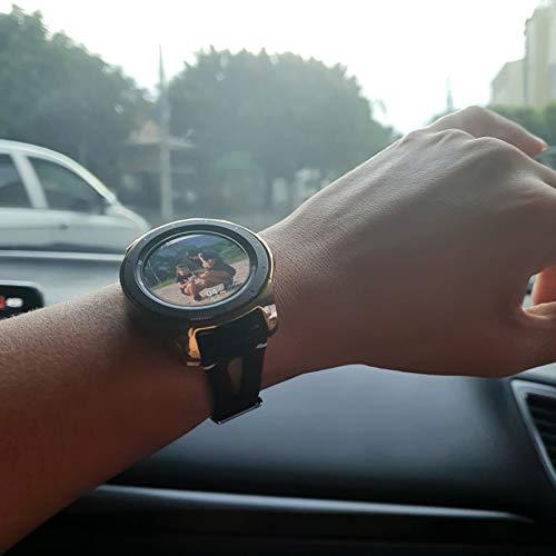 Ownaco Leder Armband Kompatibel mit Samsung Galaxy Watch 42mm Uhrenarmband Frauen Männer 20mm Echtleder Armband Ersatz für Galaxy Active 2 40mm 44mm (20mm Breite, Schwarz)