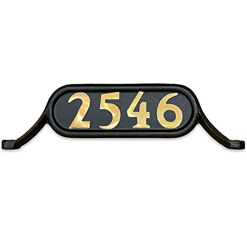 ADDRESSES OF DISTINCTION Williamsburg Style 2 Address Plate – Contemporary Plaque for House Numbers – Rust Proof Aluminum Mailbox Topper – Mounting Hardware Included (Solid Brass Numbers)