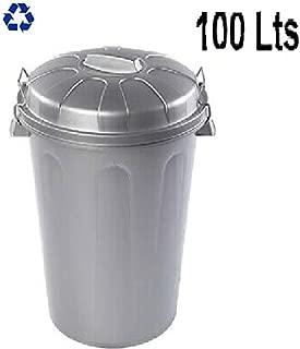 PLASTIFORTE Cubo de Basura con Tapa 100 litros basurero Gris